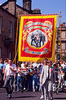 Stillingfleet Branch NUM banner on the Yorkshire miners 100th gala, Barnsley. 20-06-1987.