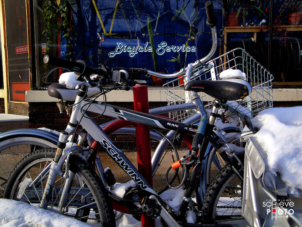 Bicycles in front of bike shop.