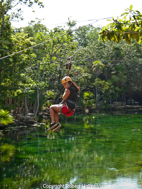 Zip lining on the Riviera Maya, Mexico