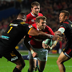 Sigfried Fifiihoi tries to stop Dan Biggar during the 2017 DHL Lions Series rugby union match between the NZ Maori and British & Irish Lions at FMG Stadium in Hamilton, New Zealand on Tuesday, 20 June 2017. Photo: Dave Lintott / lintottphoto.co.nz