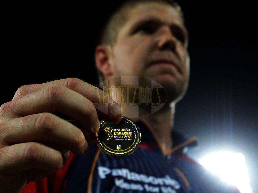 Delhi Daredevils captain James Hopes shows the coin during the toss of match 68 of the Indian Premier League ( IPL ) Season 4 between the Delhi Daredevils and the Pune Warriors India held at the Feroz Shah Kotla Stadium in Delhi, India on the 21st May 2011..Photo by BCCI/SPORTZPICS.