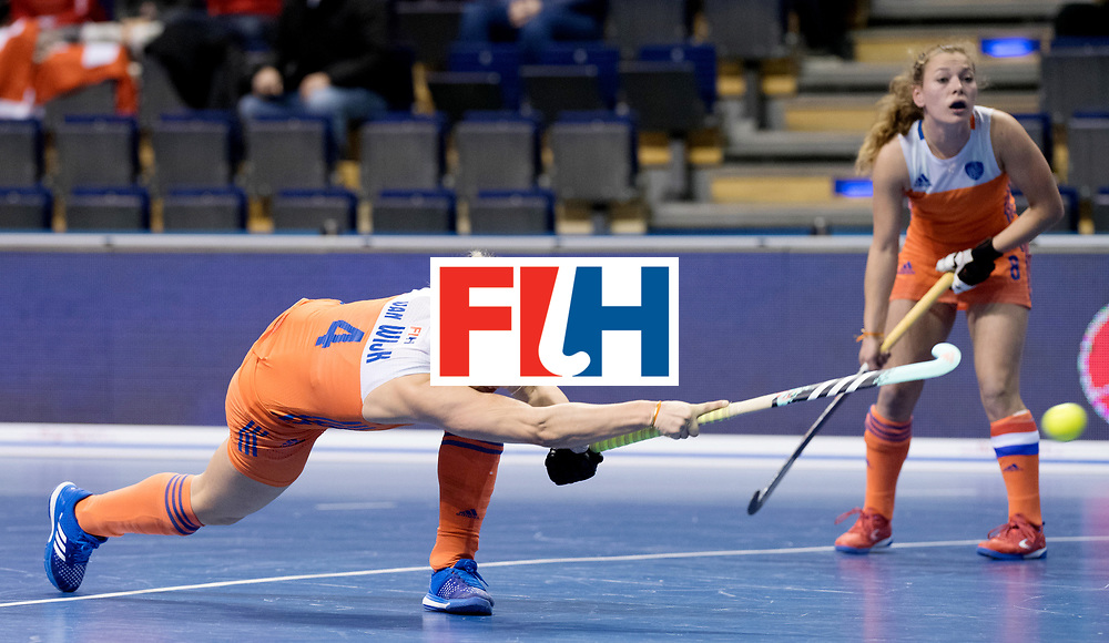BERLIN - Indoor Hockey World Cup<br /> Women: Netherlands - Switzerland<br /> foto: Lieke van Wijk scored the 1-0.<br /> WORLDSPORTPICS COPYRIGHT FRANK UIJLENBROEK