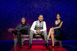 © Licensed to London News Pictures. 22/05/2013. London, UK. A waxwork figure of rapper, actor and producer Will Smith is seen on a sofa alongside actor George Clooney (L) and Harry Potter actress Emma Watson as the former Fresh Prince of Bel Air star takes his place in Madame Tussauds 'A-List' party in London today (22/05/2013). Photo credit: Matt Cetti-Roberts/LNP