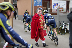Safety first for the town crier at Pajot Hills Classic 2017. A 121 km road race on March 29th 2017 in Gooik, Belgium. (Photo by Sean Robinson/Velofocus)