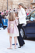 Princess Sofia and Queen Letizia of Spain attended the Easter Mass at the Cathedral of Palma de Mallorca on April 5, 2015 in Palma de Mallorca, Spain.