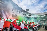 ROTTERDAM - Feyenoord - Heracles , Voetbal , Seizoen 2016/2017 , Eredivisie , Stadion Feyenoord - De Kuip , 14-05-2017 , Kampioenswedstrijd , Supporters overzicht vlaggen rook met het stadion op de achtergrond