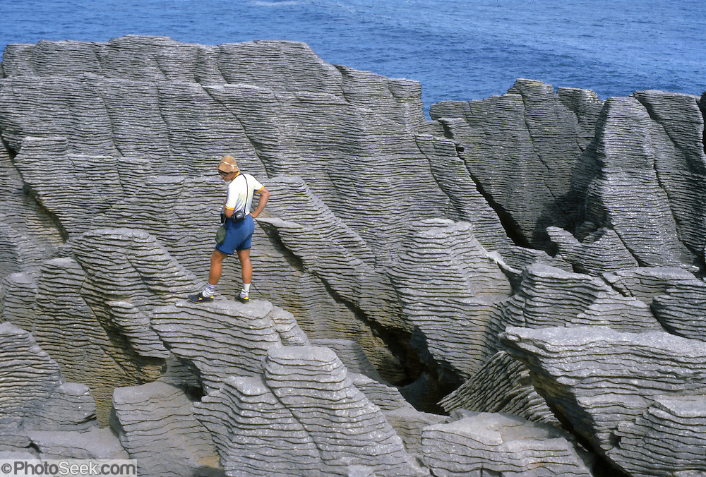 Pancake Rocks weathered from limestone sediment layers at Punakaiki, Paparoa National Park, New Zealand. Published in Sierra Magazine, Sierra Club Outings January/February 2004.