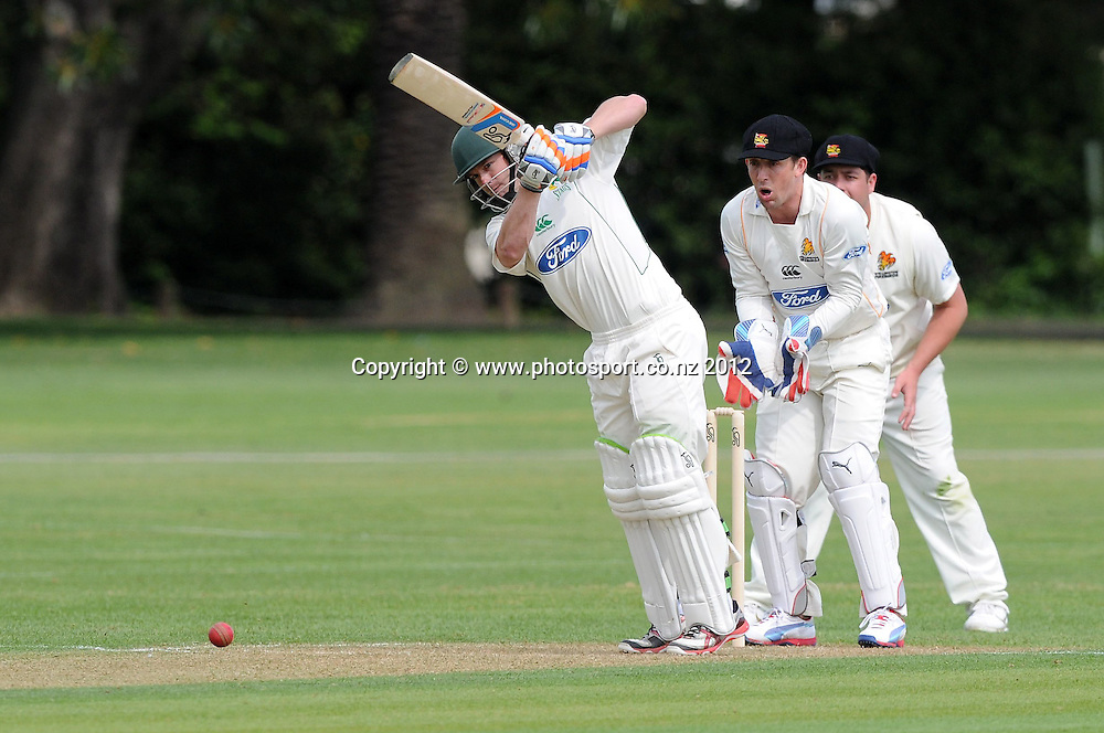 Central Stag's Mathew Carl Cachopa plays a shot in the Plunket Shield Cricket match, Central Stags vs Wellington Firebirds, Nelson Park, Napier, New Zealand. Sunday 28 October 2012. Photo: Kerry Marshall / photosport.co.nz