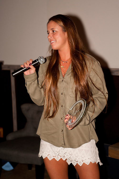 Costa Mesa, CA - November 18th, 2014 - Brooke Sweat receives the award for best defensive player in 2014 at the AVP (Association of Volleyball Professionals) 2014 Awards banquet held at the SOCIAL in Costa Mesa, CA. Photo by Wally Nell/DIG Magazine/ZUMA Press