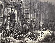 """Huntsmen bold returned from sport Snoring, horns to lips!"""" Illustration from 'The Sleeping Beauty' by Paul Gustave Doré (1832-1883). The prince encounters everyone in the castle grounds in an enchanted sleep. From the book Fairy realm. A collection of the favourite old tales. Illustrated by the pencil of Gustave Dore by Tom Hood, (1835-1874); Gustave Doré, (1832-1883) Published in London by Ward, Lock and Tyler in 1866"""