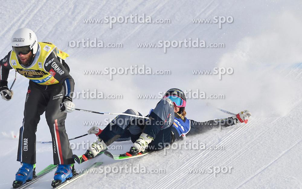 12.02.2017, Idre Fj&auml;ll, SWE, FIS Weltcup Ski Cross, Idre Fj&auml;ll, im Bild Erik Mob&auml;rg gro&szlig;e Hoffnung und dann der Sturz // during the FIS Ski Cross World Cup in Idre Fj&auml;ll, Sweden on 2017/02/12. EXPA Pictures &copy; 2017, PhotoCredit: EXPA/ Nisse Schmidt<br /> <br /> *****ATTENTION - OUT of SWE*****