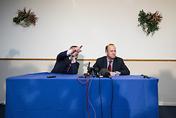 © Licensed to London News Pictures . 29/09/2017 . Torquay , UK . Contest winner HENRY BOLTON (r) at a post-victory press conference with GAWAIN TOWLER (l) . The UK Independence Party Conference at the Riviera International Centre . UKIP is due to announce the winner of a leadership election which has the potential to split the party . Photo credit: Joel Goodman/LNP