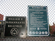 """**EXCLUSIVE**.City Park Playground sign where Tim Robbins ignoring City Park's Playground Rules that Prohibits """"Roller Skates"""" and Adults without children was playing """"Roller Skate Hockey"""" with his male friends at William F. Passannante Ballfield Public Park..While a Mother was waiting at the bus stop with her son, the ball pass trough the fence and hit the boy's foot, he was crying, so Tim rushed out of the Park to take care of the little boy, one of Tim's teammates rushed inside a local grocery store and brought ice in a black bag. Tim attended to the boy by putting ice on his foot and verifying that it wasn't broken. Be on the look out for a lawsuit..West Village.New York City, NY, USA .Sunday, September 23, 2007.Photo By Celebrityvibe.com.To license this image call (212) 410 5354 or;.Email: celebrityvibe@gmail.com; ."""