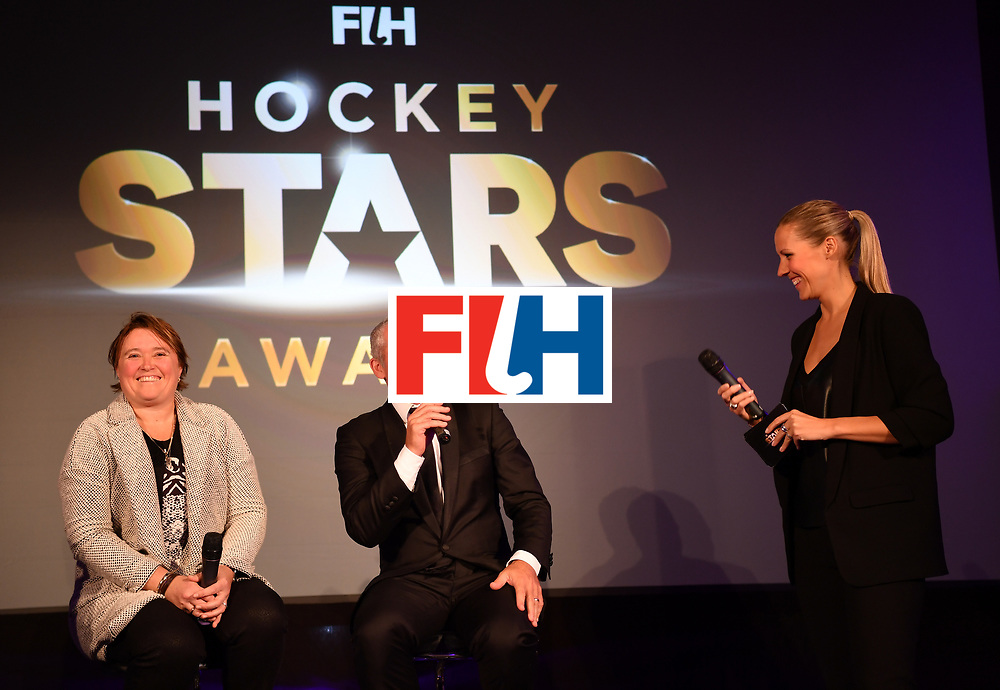BERLIN, GERMANY - FEBRUARY 05:  Alyson Annan of Australia, female coach of the year and Shane Mcleod, male coach of the year during the Hockey Star Awards night at Stilwerk on February 5, 2018 in Berlin, Germany.  (Photo by Stuart Franklin/Getty Images For FIH)