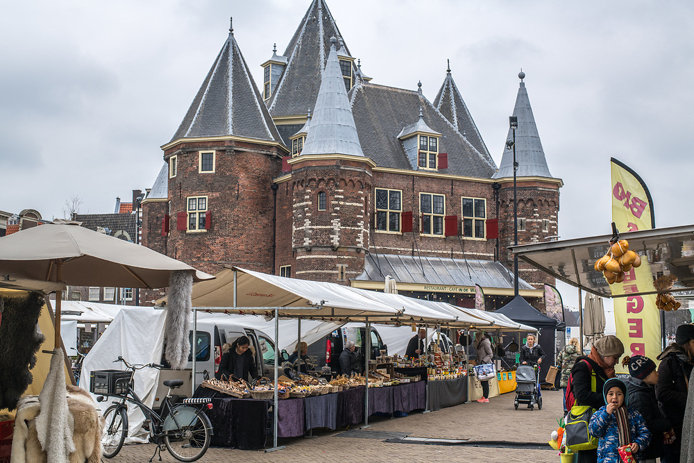 Wide shot of a market  in Amsterdam, Netherlands