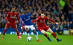LIVERPOOL, ENGLAND - Sunday, March 3, 2019: Liverpool's Andy Robertson (R) and Everton's Idrissa Gana Gueye during the FA Premier League match between Everton FC and Liverpool FC, the 233rd Merseyside Derby, at Goodison Park. (Pic by Paul Greenwood/Propaganda)