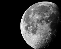 Waning Gibbous Moon. Image taken with a Nikon 1 V2 camera FT1 adapter, 500 mm f/4 VR lens, and 2.0 TC-E adapter (ISO 160, 1000 mm, f/8, 1/250 sec).