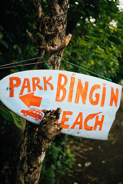 A sign for Bingin Beach in Bali, Indonesia.