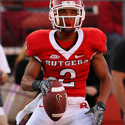 Sep 19, 2009; Piscataway, NJ, USA; Rutgers wide receiver Tim Brown (2) celebrates a touchown during the first half of NCAA college football between Rutgers and Florida International at Rutgers Stadium.