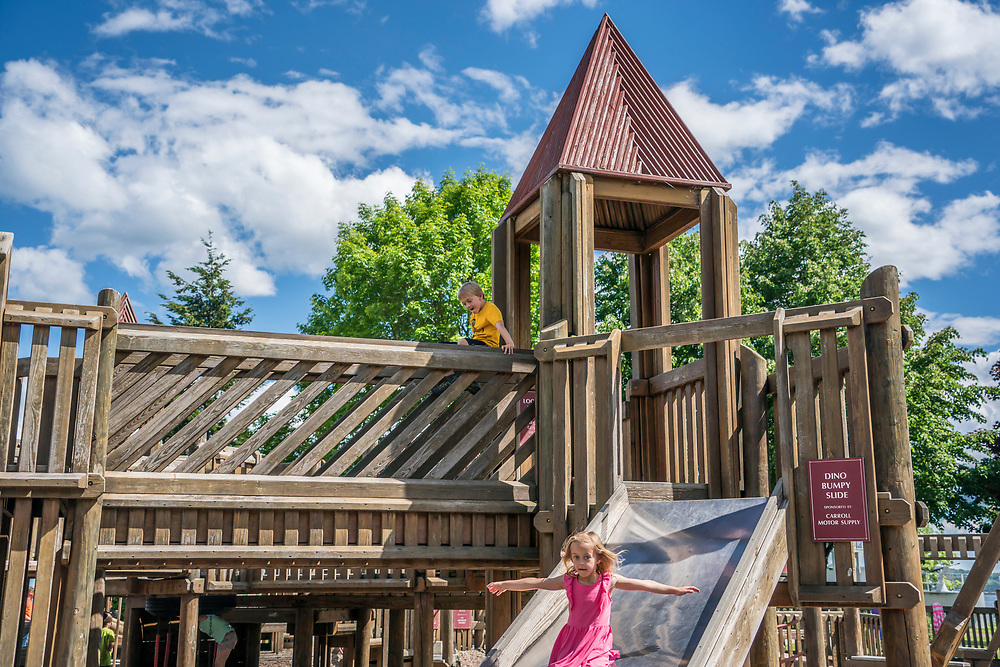 Kids play at a park in Marquette, Michigan