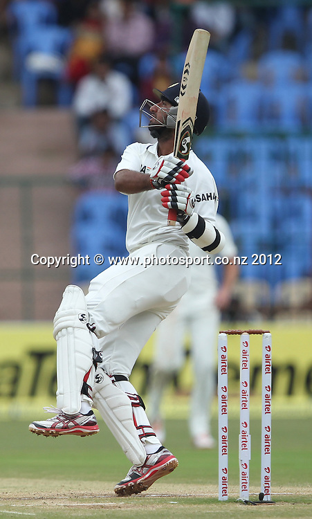New Zealand cricket tour to India. September 2012 Bengaluru :   India's   Cheteswar Pujara plays a shot  during the 4th day of the test match against NewZealand in Bengaluru on Monday.   Photo: Photosport.co.nz