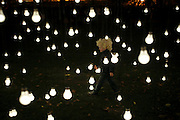 Three and a half year old Finn Bulson walks thru Jim Campbell's Scattered Light featured at Madison Square Park on October 21, 2010 in New York City.Photo by: Joe Kohen for The Wall Street Journal.LIGHT