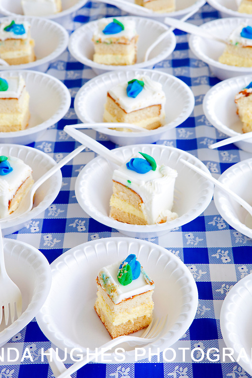 Slices of cake at an outdoor celebration