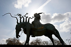 © licensed to London News Pictures. London, UK. 14/04/2012. The unveiling of a sculpture of Genghis Khan at Marble Arch in central London on April 14, 2012. The sculpture is by Dashi Namakov. Photo credit: Tolga Akmen/LNP