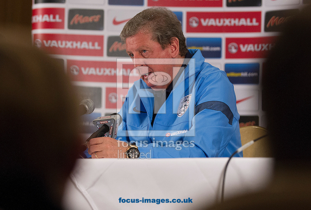 Picture by Paul Terry/Focus Images Ltd +44 7545 642257<br /> 18/11/2013<br /> Manager, Roy Hodgson talks during an England Press Conference at the Grove Hotel, Chandler's Cross.