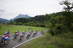 The peloton descends in the first lap of the Durango-Durango Emakumeen Saria - a 113 km road race, starting and finishing in Durango on May 16, 2017, in the Basque Country, Spain.