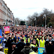 Up to 120,000 people have marched in Dublin in protest at how the Government is handling the economic crisis. The march, which was organised by the Irish Congress of Trade Unions (ICTU), took nearly one and a half hours to make its way from Parnell Square to Merrion Square. 21/02/2009.