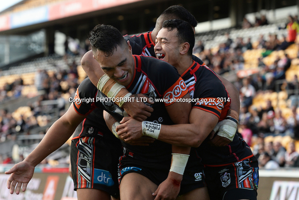 Marata Niukore celebrates after scoring a try. Junior Warriors v Junior Panthers. NYC Holden Cup U20s Rugby League. Mt Smart Stadium, Auckland. New Zealand. Sunday 29 June 2014. Photo: Andrew Cornaga/Photosport.co.nz