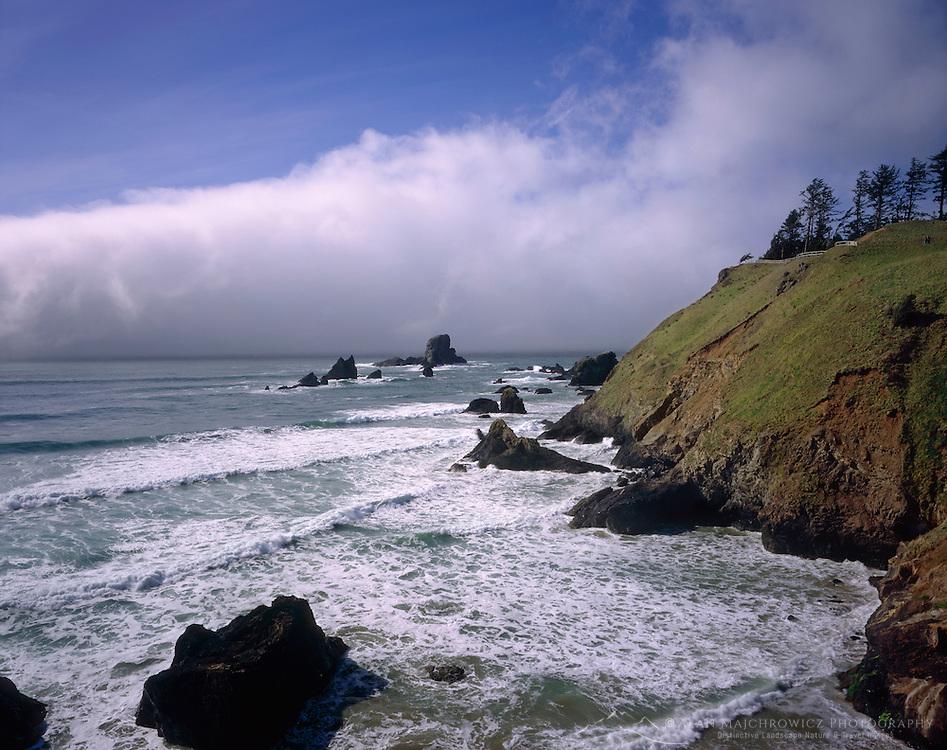 Fog and surf Ecola State Park Oregon USA