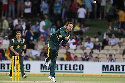 © Licensed to London News Pictures. 08/03/2012. Adelaide Oval, Australia. Australian spinner Nathan Lyon bowls during the One Day International cricket match final between Australia Vs Sri Lanka. Photo credit : Asanka Brendon Ratnayake/LNP