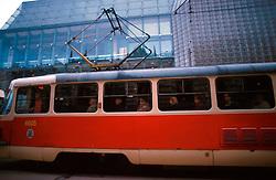 CZECH REPUBLIC PRAGUE MAR00 - Trams carry passengers through the centre of Prague. Old-fashioned trams are gradually being replaced by newer models, symbolising the Czech Republic's first decade of 'Westernisation'.  .. jre/Photo by Jiri Rezac. . © Jiri Rezac 2000. . Tel:   +44 (0) 7050 110 417. Email: info@jirirezac.com. Web:   www.jirirezac.com