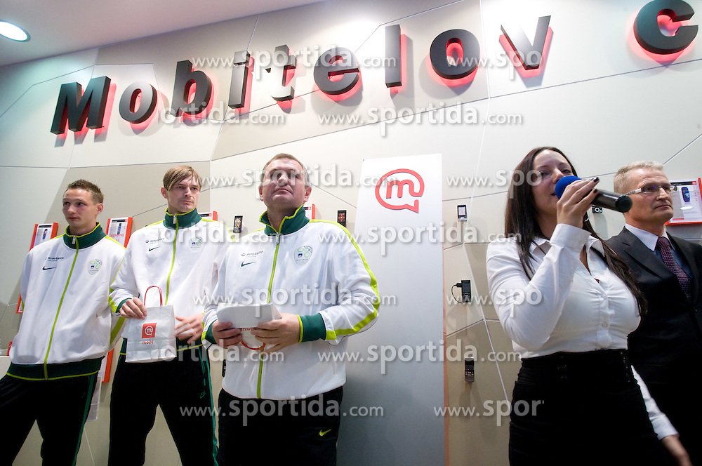 Tim Matavz, Milivoje Novakovic and Matjaz Kek at visit  of Slovenian National Football team in Mobitel center, on May 19, 2010 in Ciytpark, BTC, Ljubljana, Slovenia. (Photo by Vid Ponikvar / Sportida)