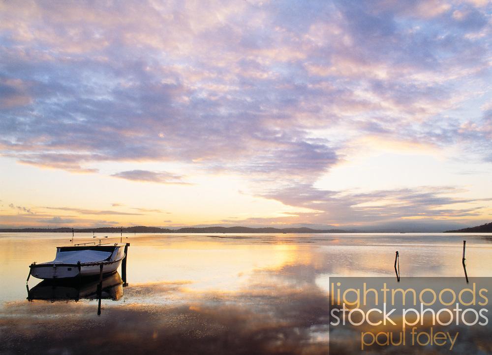 Old Fishing Boat at Sunset on Lake Macquarie - East Coast Australia