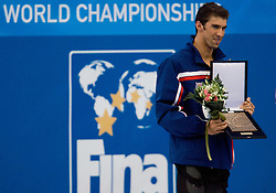 Michael Phelps of USA receives an award after  the 13th FINA World Championships Roma 2009, on August 2, 2009, at the Stadio del Nuoto,  in Foro Italico, Rome, Italy. (Photo by Vid Ponikvar / Sportida)