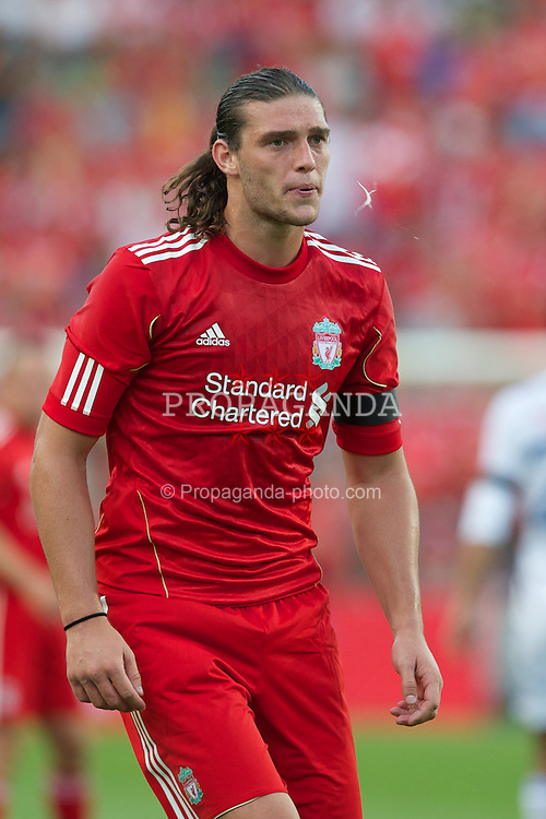 OSLO, NORWAY - Monday, August 1, 2011: Liverpool's Andy Carroll in action against Valerenga during a preseason friendly match at the Ulleval Stadion. (Photo by David Rawcliffe/Propaganda)