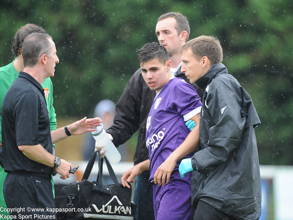 Stunned Barry Deakin, after being knocked out, Kettering Town v Daventry Town Southern League Division One Central, 25th August 2014