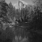 Half Dome And Merced River Reflection - Merced River Bridge View - Yosemite - Black & White