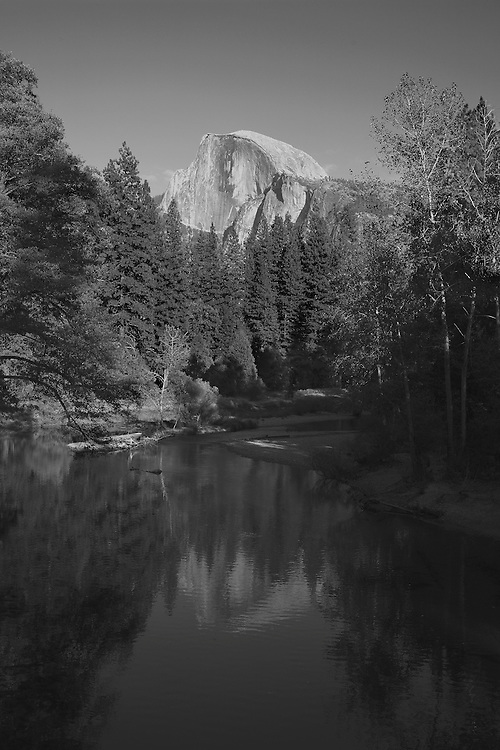 Half Dome And Merced River Reflection - Merced River Bridge View - Yosemite - Black & White
