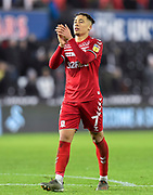 Marcus Tavernier (7) of Middlesbrough applauds the travelling fans at full time during the EFL Sky Bet Championship match between Swansea City and Middlesbrough at the Liberty Stadium, Swansea, Wales on 14 December 2019.