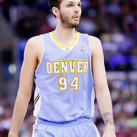15 April 2014: Denver Nuggets guard Evan Fournier (94) rests during the Los Angeles Clippers 117-105 victory over the Denver Nuggets at the Staples Center, Los Angeles, California, USA.