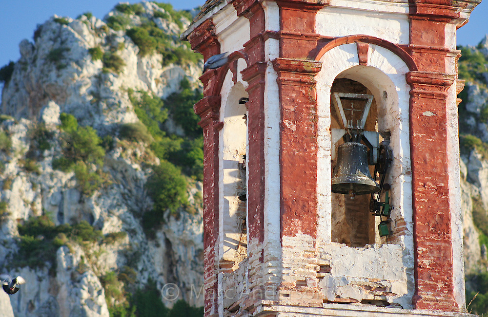 Old Spanish church bell tower in Zuheros, a Spanish white village in Andalucia, Spain.