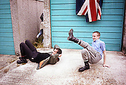Lee and Neville Breakdancing by Garages, Hawthorne Rd, High Wycombe, UK, 1980s.