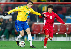 Kaka of Brazil during the 2010 FIFA World Cup South Africa Group G match between Brazil and North Korea at Ellis Park Stadium on June 15, 2010 in Johannesburg, South Africa. Brazil defeated Korea 2-1. (Photo by Vid Ponikvar / Sportida)