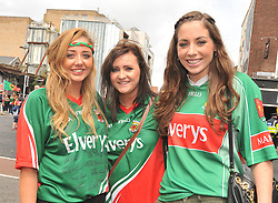 Mayo Fans enjoying the atmosphere at Croke Park Orla Prendergast form Louisburgh, Amanda Syron from Crossmolina and Catherine Bourke from Tourmakeady.<br />Pic Conor McKeown