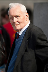 © Under licence to London News Pictures. 14/03/14 Tony Benn has died aged 88. FILE PICTURE:  UK  01/05/11. Labour politician Tony Benn waits to address several thousand people taking part in a Mayday demonstration in central London. Please see special instructions for usage rates. Photo credit should read Matt Cetti-Roberts/LNP