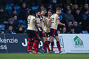 2nd December 2017, Global Energy Stadium, Dingwall, Scotland; Scottish Premiership football, Ross County versus Dundee; Dundee's Mark O'Hara is congratulated after scoring for 1-0